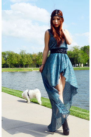 turquoise blue asymmetrical Love dress