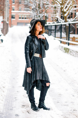 faux leather H&M boots - cotton H&M dress