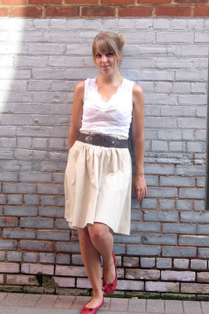 beige JC Penneys skirt - white Lace tank shirt - red Payless Shoes shoes - brown