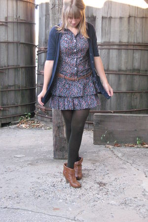 blue dress - brown decree boots - blue thrifted cardigan