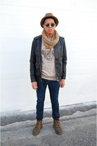 scarf - leather Dr Martens boots - tweed hat - leather jacket obey jacket