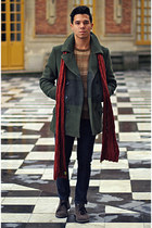 charcoal gray suede Clarks boots - olive green wool Gap coat