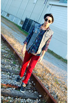 ruby red jeans - heather gray Urban Outfitters hat - Topshop sunglasses