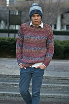 Topman sweater - Kill City jeans - navy north face hat
