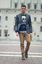 navy sweater - dark brown Dr Martens boots - navy blazer - light brown H&M pants