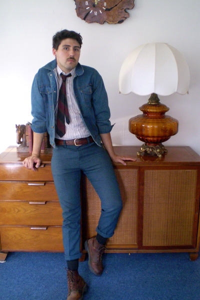 Men's Blue Vintage Reconstructed Pants, Brown Red Wing Boots, Blue ...