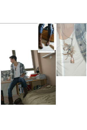brown Diesel boots - blue Urban Outfitters jeans - blue a&f shirt