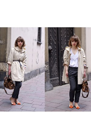 vintage coat - atmophere bag - vintage blouse - Bershka pants