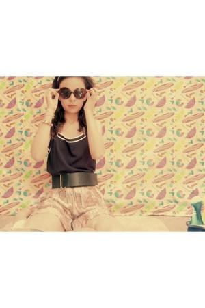 forever 21 blouse - Charlotte Ronson shorts - forever 21 belt - sunglasses