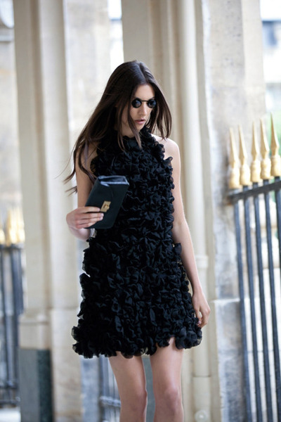 MOBO by Lesley Mobo couture dress - Valentino purse - Dolce & Gabbana sunglasses