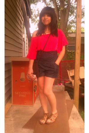 red Charlotte Russe shirt - dark brown thrifted bag - navy high waisted Thrift S