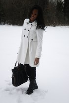 black Charlotte Russe boots - off white Old Navy coat - black Forever 21 legging