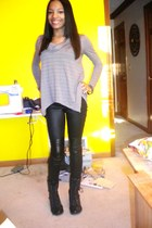 black leather TJMaxx boots - black leather pants H&M leggings - camel TJMaxx top