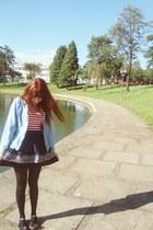 jeans jacket - black tights - Wax skirt - Melissa flats - ring