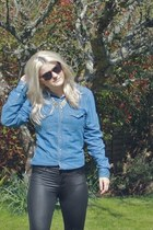 black Ebay leggings - sky blue denim Topman shirt - brown Primark sunglasses