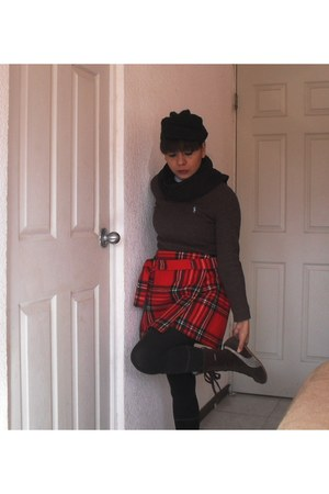 ruby red handmade skirt - dark brown Puma boots - black handmade hat