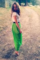 white Bershka blouse - green thrifted vintage skirt