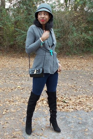charcoal gray cloche Claires hat - black over the knee Target boots