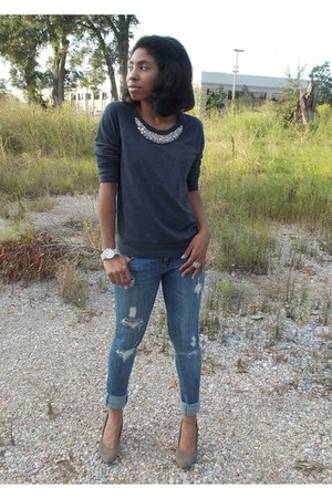 charcoal gray jeweled Old Navy sweater