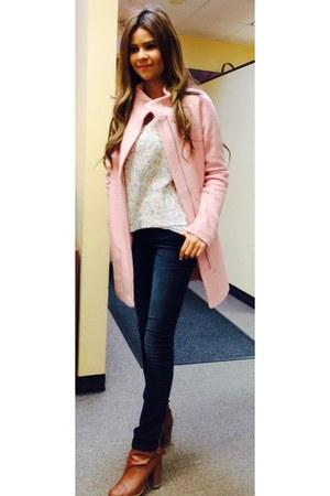 tawny H&M shoes - light pink Express coat - blue jeans - H&M jumper