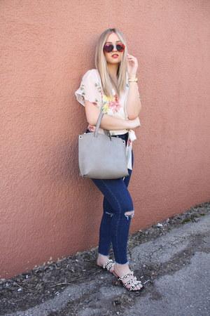 white wrap Zara blouse - navy Zara jeans - black pearls Zara sandals
