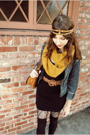 yellow Charlotte Russe scarf - denim shorts Delias jacket