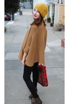 batwing H&M sweater - mountain Charlotte Russe boots - skinny Just USA jeans