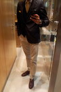 Brown-double-monk-zara-shoes-navy-zara-blazer-navy-springfield-cardigan