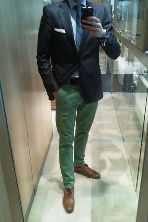 tawny Zara shoes - navy Zara blazer - navy Massimo Dutti shirt