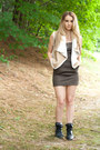 Black-combat-boots-boots-army-green-mini-dress-dress-tan-shearling-vest
