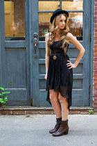 fedora hat - combat booties boots - dress - necklace