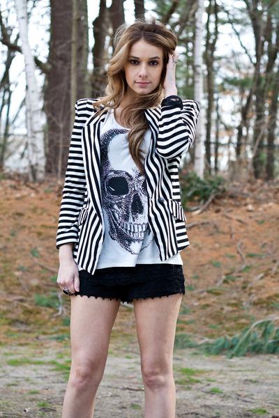 black stone ring - buckled booties boots - striped blazer blazer