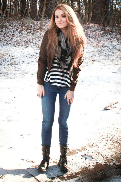 combat boots - jeans - jacket - scarf - striped peplum top - ring