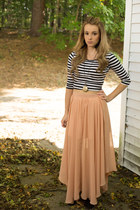 cross necklace necklace - boots - stripe crop top top - skirt