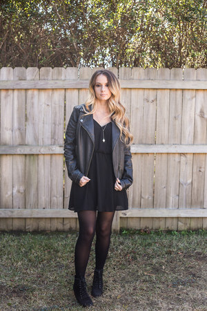 black lace up boots boots - black black dress - black jacket