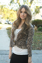 leopard cardigan - boots - pocket tank shirt - skirt - necklace accessories