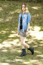 top - combat boots boots - denim shirt shirt - leopard print skirt