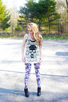 crochet skull top - booties boots - floral leggings - vintage necklace