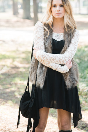 black lace up boots boots - black dress - black bag