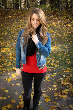denim jacket jacket - riding boots boots - black infinity scarf - red tank top