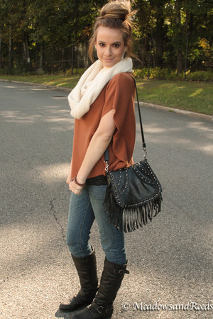 scarf - boots - bag - top
