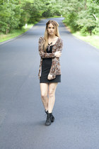 lace-up booties boots - bodycon dress - leopard jacket - feather necklace