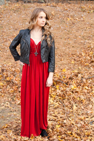 jacket - red maxi dress dress - accessories