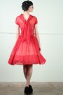 Ruby-red-sheer-chiffon-vintage-dress-black-velvet-platform-jeffrey-campbell-he