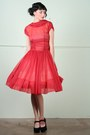 Ruby-red-sheer-chiffon-vintage-dress-black-velvet-platform-jeffrey-campbell-he