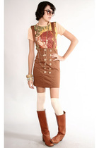 brown vintage dress - brown vintage frye boots - beige American Apparel leggings