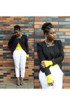 black H&M blazer - yellow COS top - white H&M pants - silver COS necklace