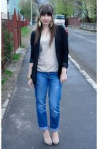gold H&M bracelet - black Stradivarius coat - navy Mango jeans