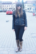 dark brown Dav boots - black Zara jacket - black Zara tights