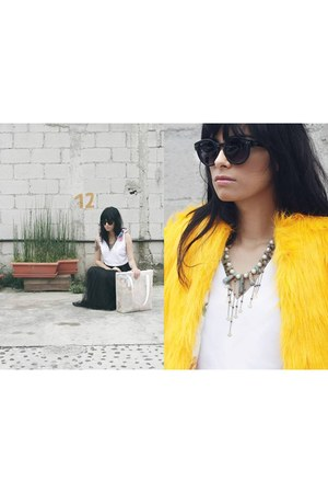 yellow medium jacket - cream medium bag - light blue medium necklace